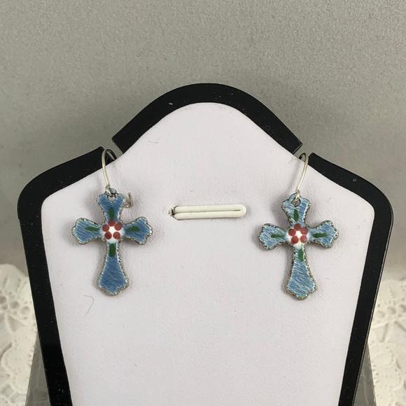 Vintage Other - Vintage Blue Enamel Guilloche Cross Drop Earrings